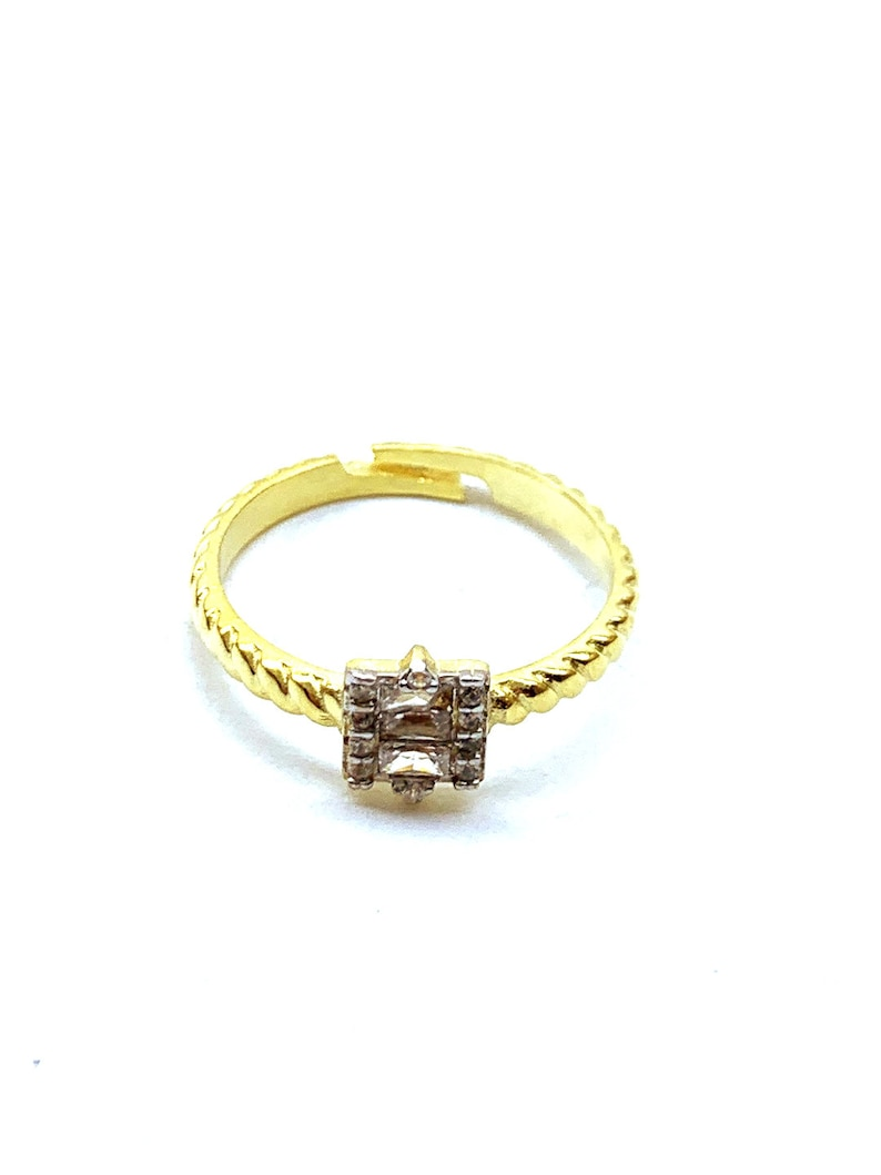 Dainty Ring Adjustable Ring CZ Ring Baguette Gemstone Ring Gold Ring Twisted Band Ring 925 Solid Sterling Silver 14K Gold Vermeil