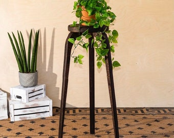 Plant stand, large, indoor plant stand, plant stool, stool, end table, plants, planter, boho decor, farmhouse decor, shelf, gift, tall stool