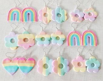 Rainbow Earrings - Handmade Clay Earrings - Pastel Rainbow Spring Summer Earrings
