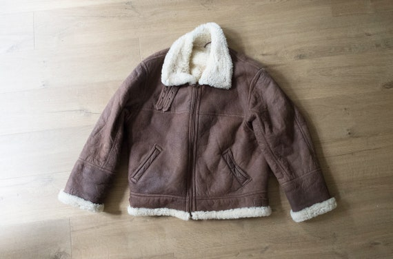 vintage 1930's style B3 Bomber Aviator Shearling L