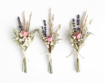 Mini Dried Flowers Boho Bouquet with Rose
