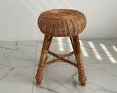 Rattan wicker round stool or teatable