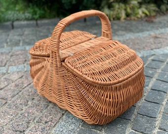 Handwoven Picnic Basket, Picnic Wicker Basket, basket with lid