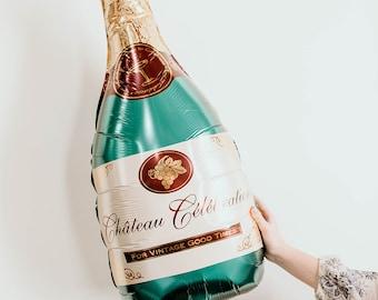 Green Champagne Bottle Balloon (Large)