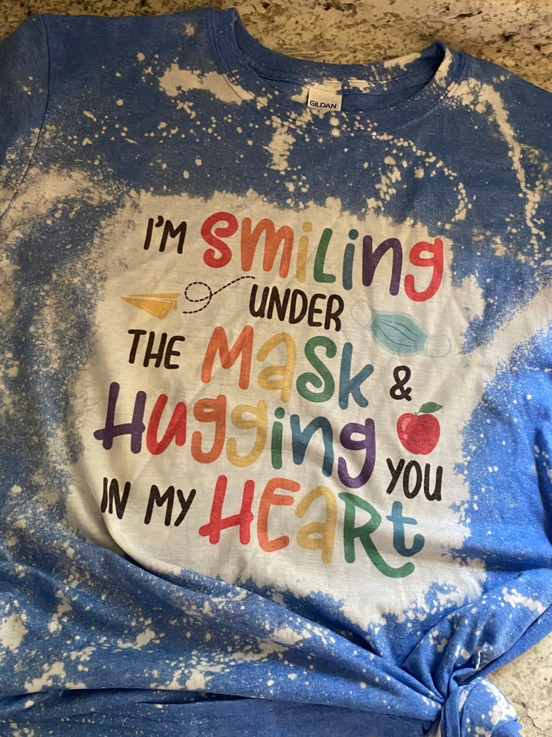 Smiling under my mask bleached tee