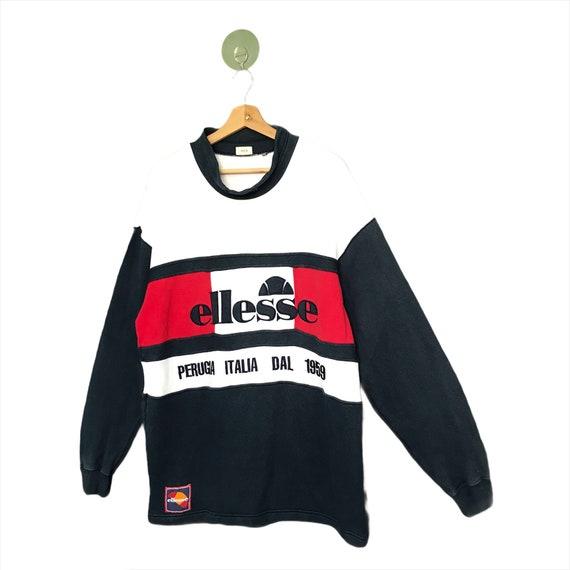 RARE!! Vintage 90s Ellesse Sweatshirt Ellesse Big Log Spellout Perugia Italia Spellout Big Logo Pullover Embroidered Jumper Sweater