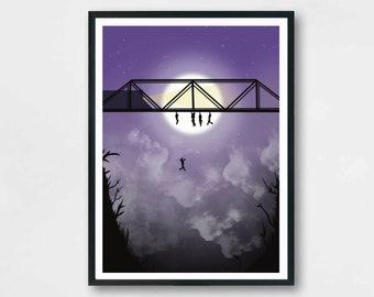 The Lost Boys Bridge Scene  | Illustration | Film | Classic Movie | Poster | wall art | Gallery| Print |A5 A4 A3
