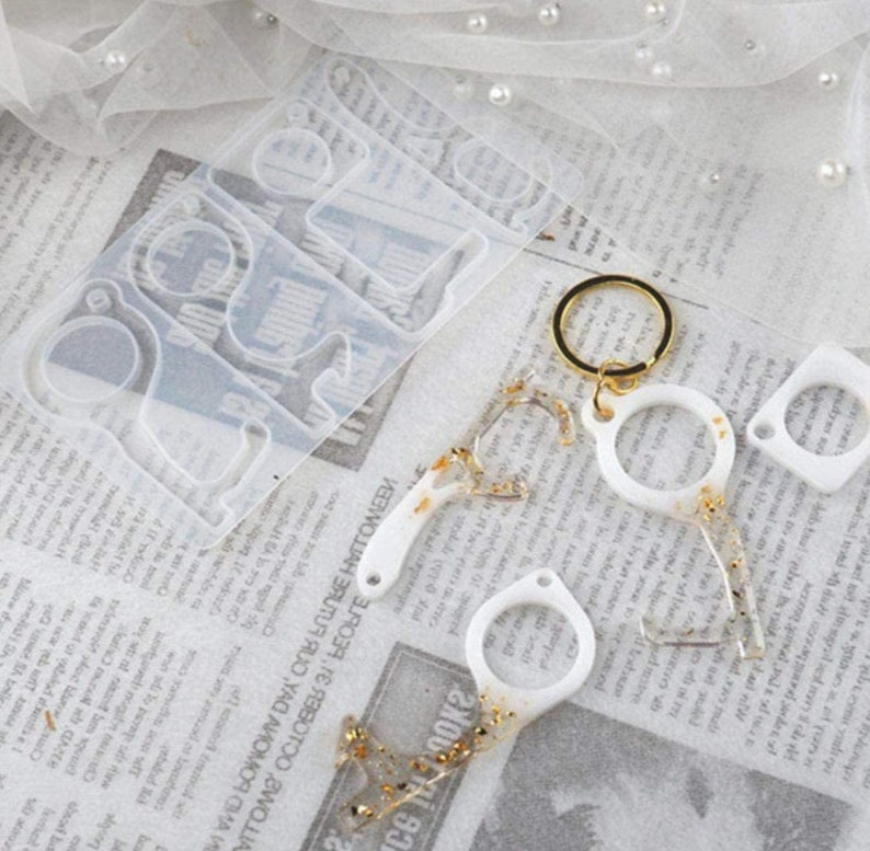 Anti Touch Keychain Mold No Touch Door Opener Resin Mold Button Pusher Tool Expoxy Mold
