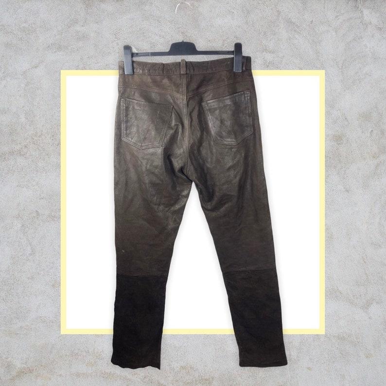 Traction 80s 90s vintage Echtleder Hose genuine leather pants straight fit braun size 32