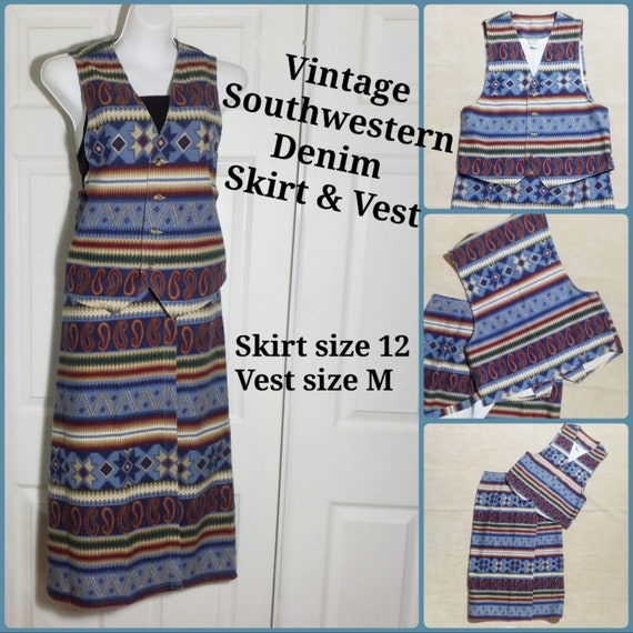 Vintage Western wear Vest & Wrap Skirt