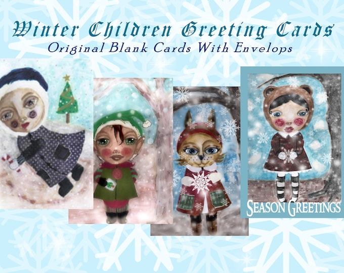 Greeting Cards Of Adorable Winter Children For The Holidays