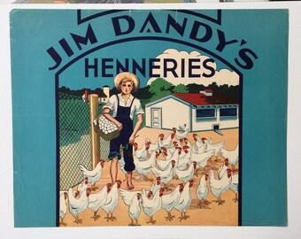 Original Crate Label Jim Dandy/'s Henneries