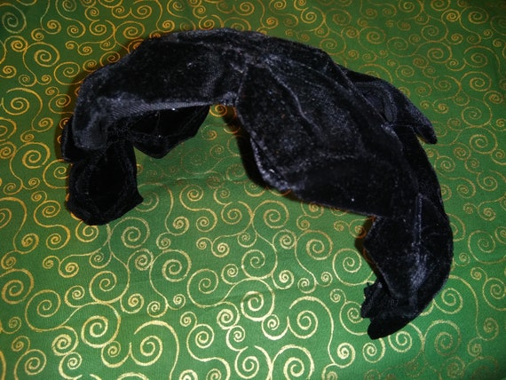 Mid Century Black Velvet Half Hat