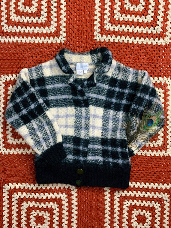 Vintage 80s Plaid Mohair Wool Collared Sweater Car