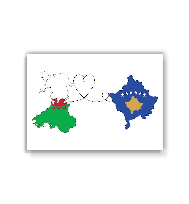 Map Flag Travel print Wales to Kosovo
