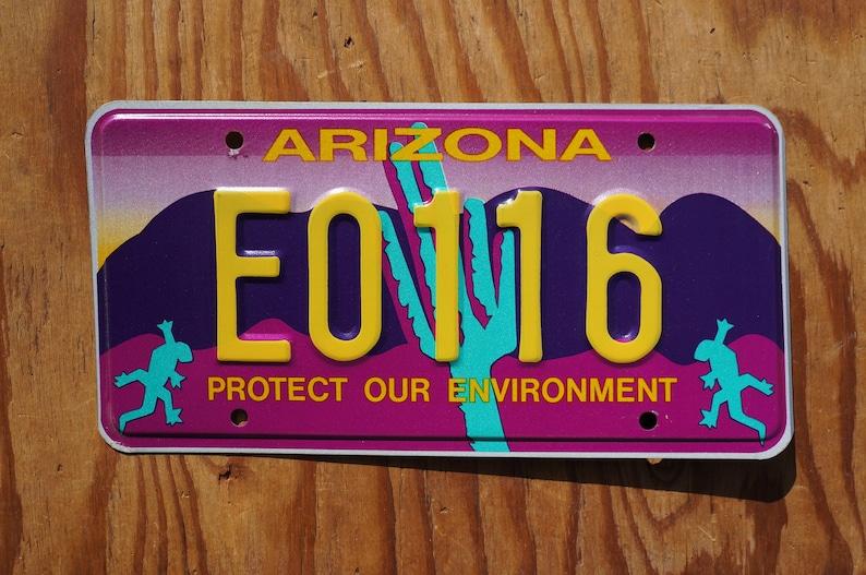 Arizona Blue Cactus Protect Our Environment purple License Plate # E0116