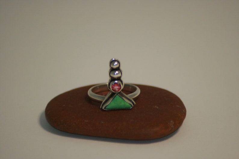 Handmade Sterling Silver Ring Turquoise Size 8 14