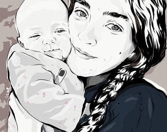 Digital personalized illustration, Realistic illustration, Custom portrait, Friendship day gift , Family portrait, Retrato personalizado,