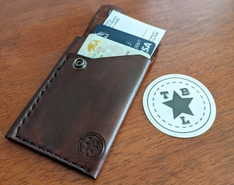 Handmade leather front pocket card wallet with metal security snap