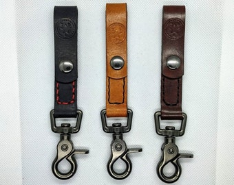 Everyday Carry Leather Key Holder | Leather Keychain Belt Snap | Handmade Leather Belt Key Holder | Removable Belt Snap Keychain