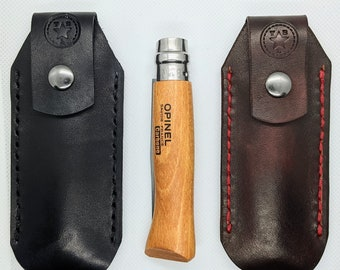 Leather Opinel Knife Sheath, Opinel No. 7/8, knife sleeve with snap closure and belt loop