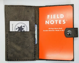 Handmade Leather Field Notes/Passport Cover with snap clasp and card holder/pockets