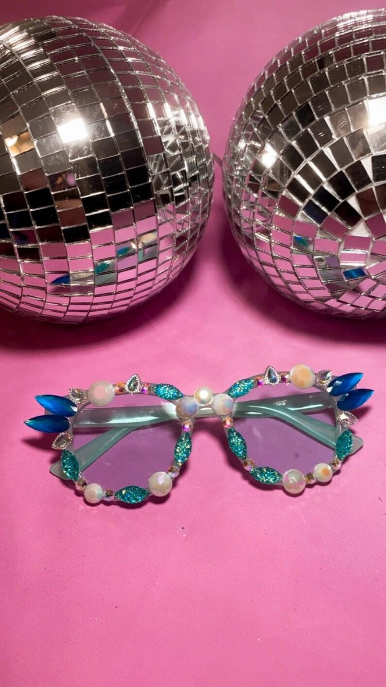 Blue rhinestone tinted sunglasses
