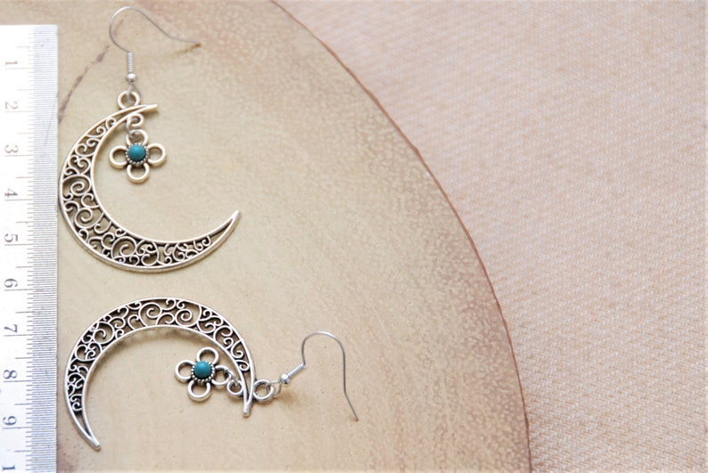 Antique Silver Statement Drop Earrings with Beautiful Moon Charm and Dainty Turquoise Flower Pendant Gift for Women Mothers Day present idea