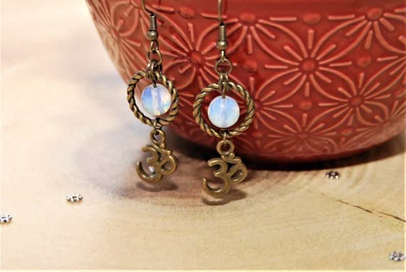 Statement Bronze Boho Dangle Drop Earrings with Aum Charm /& Opalite Stone Beads Spiritual Charm Om Ohm Gift for her Birthday mother/'s day