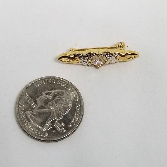 Petite Lind Rhinestone Bar Pin 14 Kt GE