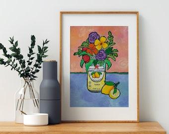 San Pellegrino, Lemon kitchen decor, birthday gift for college girl,  Italian themed gifts, soda can art,  Italian drinks, citrus decor