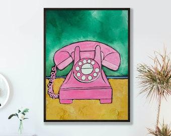 Pink Telephone, Vintage Art Print, Retro gift for her, Vintage dorm decor, grandma birthday gift, teen girl room decor, rotary phone art