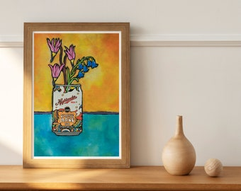Montana gift, Beer art, Missoula Montana art, Montana beer, Montana wildflower print, beer lover gift for her, home bar art, Montana art