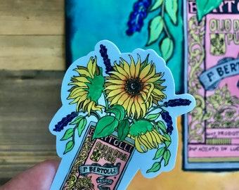Sunflower Sticker, Italy Sticker, gift for Italian, Olive Oil Sticker, Italian Food art, Italian Food Gift, Italian wedding favors, laptop