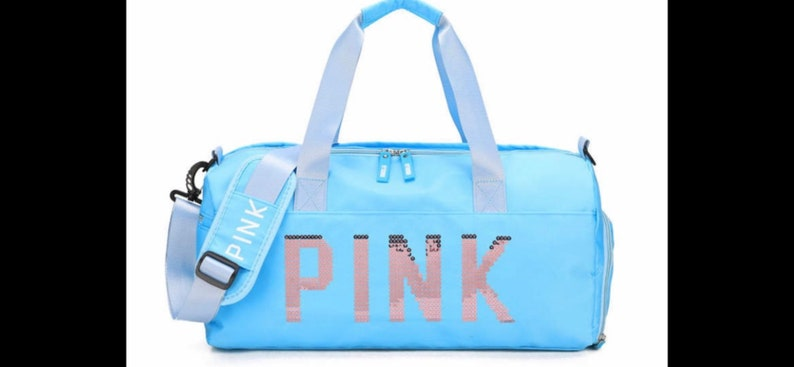 Pink gym baglight blue color multiple pocket multiple purposes gym sport yoga new