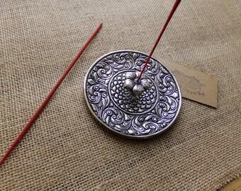 Metal Incense Holder, Floral Flower Design, Recycled Metal, Incense Stick Holder, Ash Catcher, Incense Burner, Handmade & Fairtrade