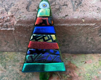 Fused Dichroic Glass Christmas Tree Brooch Pin