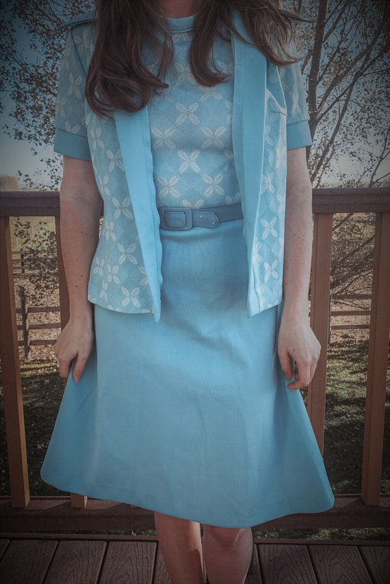 Blue womens vintage 1960s 1970s small dress