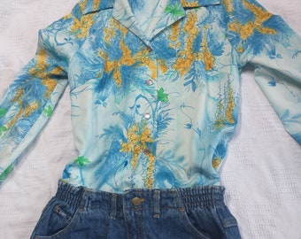 1970s blue and yellow floral women's medium longsleeve blouse