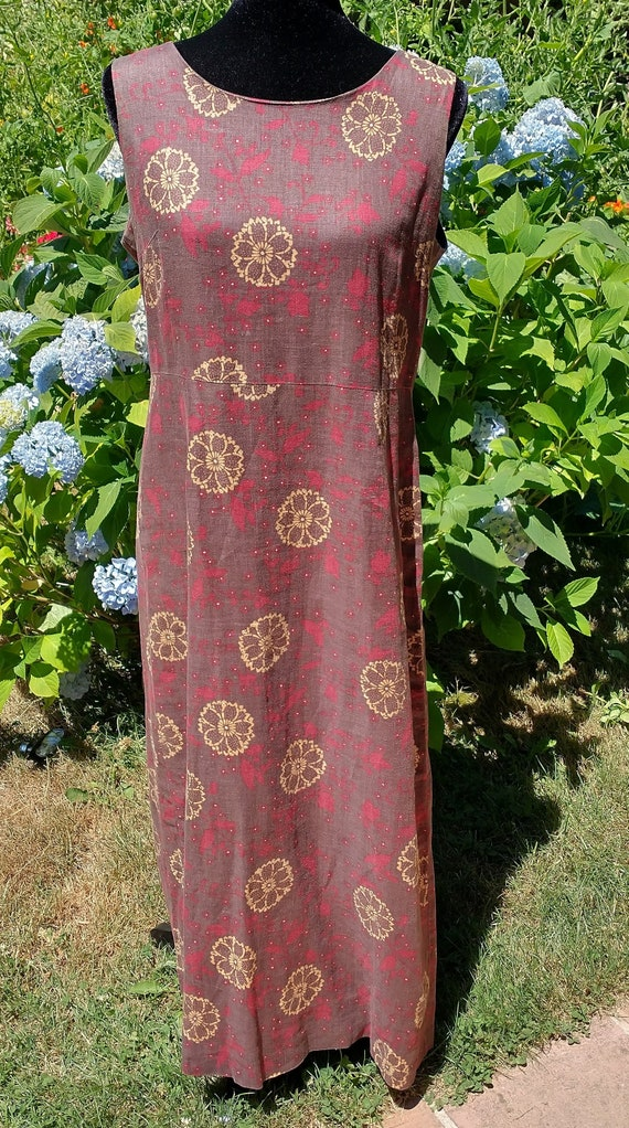 Laura Ashley made in Hong Kong Linen 90s jumper d… - image 1