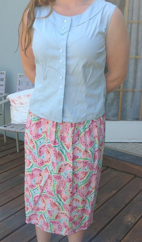 Novelty print watermelon skirt, women's small to m