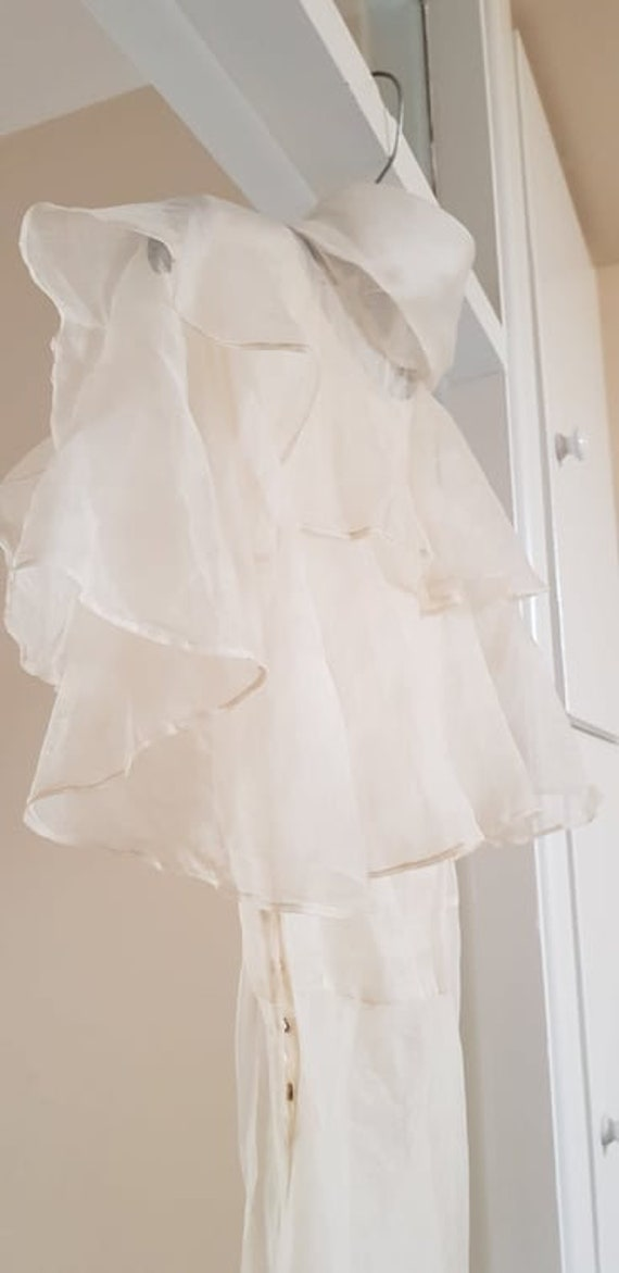 1930s dress 100% silk organza sheer dress and cape - image 4