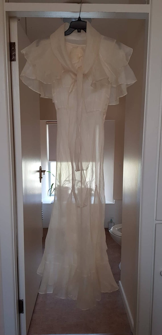 1930s dress 100% silk organza sheer dress and cape - image 1