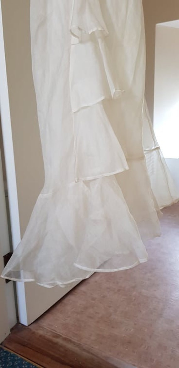 1930s dress 100% silk organza sheer dress and cape - image 3