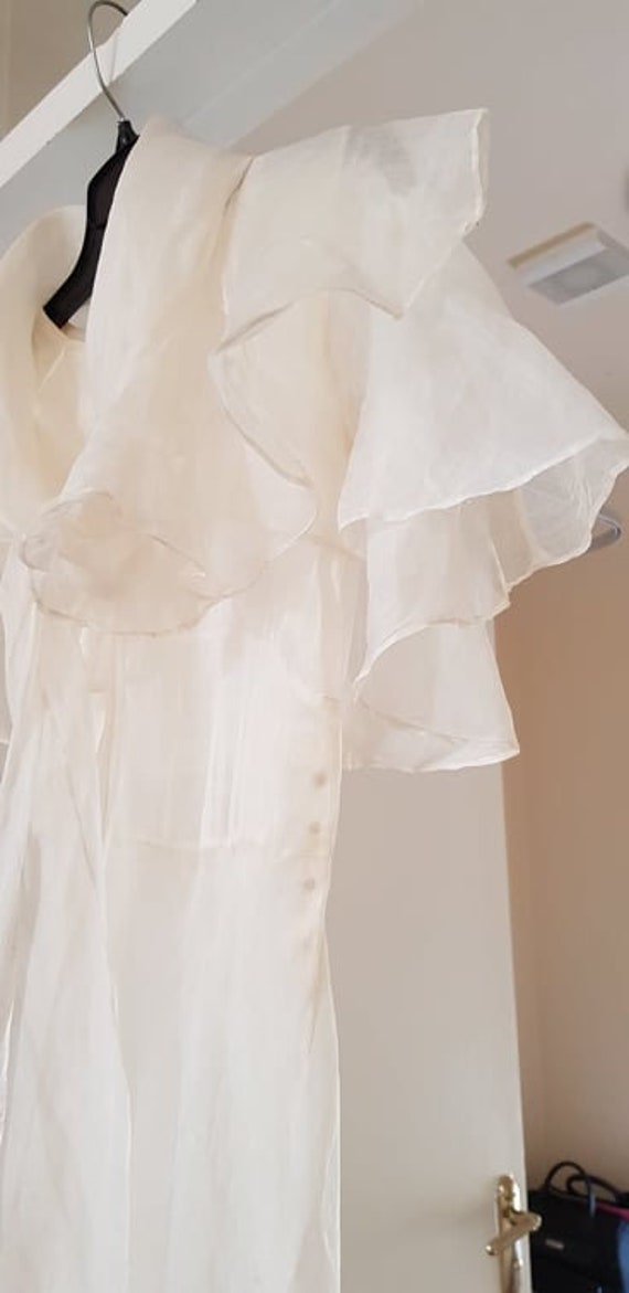 1930s dress 100% silk organza sheer dress and cape - image 2