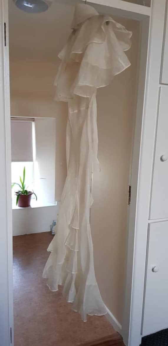 1930s dress 100% silk organza sheer dress and cape - image 5