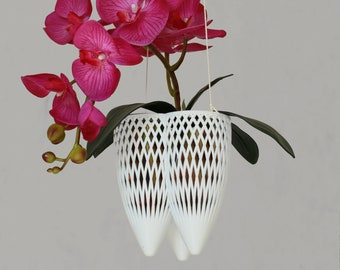 Orchid Planter with Special Aeration Holes, Hanging Planter, Art Nouveau Style Orchid Planter, Beautiful Indoor Planter and Drainage Tray