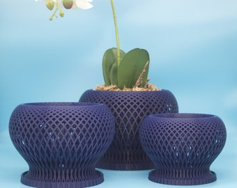 Orchid Planter with Special Aeration Holes, Art Nouveau Style Orchid Planter, Beautiful Indoor Planter and Drainage Tray, Moss Planter