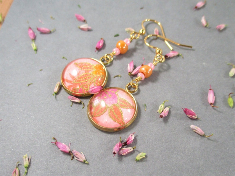 Indie Earrings Gold Plated Ear Wires Bamboo Leaf Motif Origami Paper Peach and Pink Leaf Round Dangle Earrings Floral Pattern