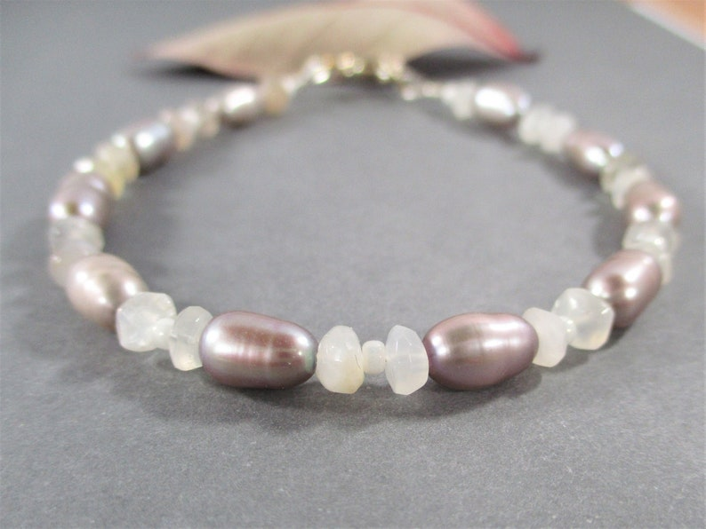 Silver Rice Pearls and White Moonstone Bracelet 7 Sterling Silver